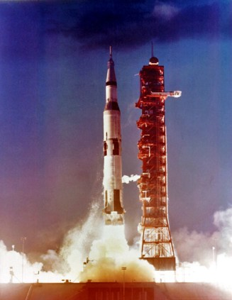 Apollo 4, the first Saturn V AS-501 launch vehicle, launched on Nov. 9, 1967, from Kennedy Space Center. This unmanned flight was a test flight for the Saturn V launch vehicle. (From Encyclopedia of Alabama, courtesy of the NASA Marshall Space Flight Center)
