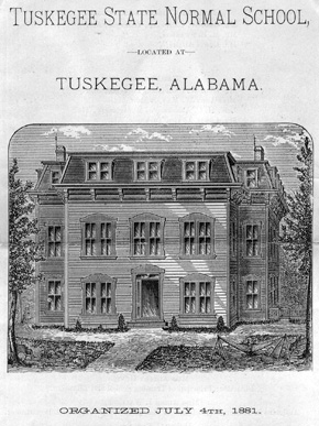 This illustration depicts the main building of Tuskegee Normal School at the time of its founding in 1881. What is now Tuskegee University was originally established to provide teacher training for African Americans in Macon County. (From Encyclopedia of Alabama, courtesy of the A. S. Williams III Americana Collection. The University of Alabama Libraries)