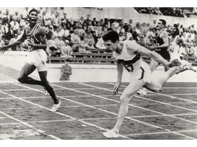 Otis Davis, left, narrowly edges Germany's Carl Kaufmann to win the gold medal in the 400-meter race at the 1960 Olympic Games in Rome, Italy. (From Encyclopedia of Alabama, courtesy of University of Oregon Libraries)