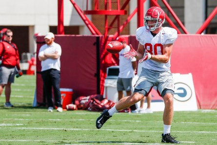 Michael Parker practices with the Tide. (Jeff Hanson/University of Alabama Athletics)