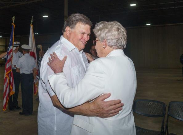 Great Southern Wood CEO Jimmy Rane greets Alabama Gov. Kay Ivey at the grand opening of Abbeville Fiber sawmill. (Sydney A. Foaster/Governor's Office)