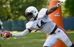 Traivon Leonard works during interception drills. (Todd Van Emst/AU Athletics)