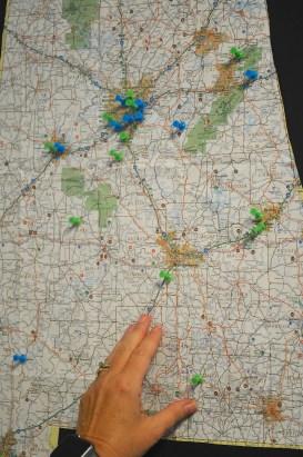 The pushpins in a map show all the churches participating in Cooperative Baptist Fellowship Alabama. (Karim Shamsi-Basha/Alabama NewsCenter)