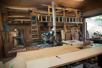 "The home woodworking shop, aka ""the doghouse"" where Cotten's creative ideas come to life. (Brittany Faush)"