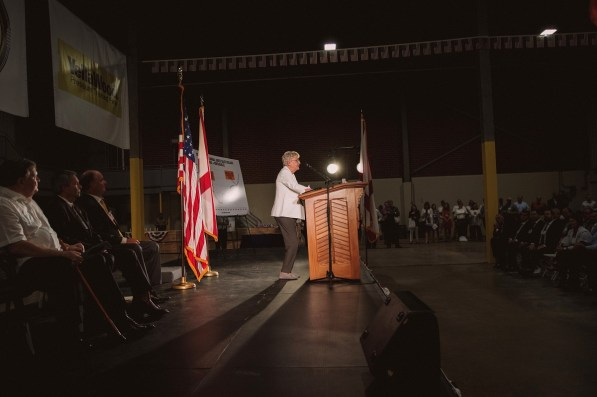 Alabama Gov. Kay Ivey participated in the grand opening of the Abbeville Fiber sawmill. (contributed)
