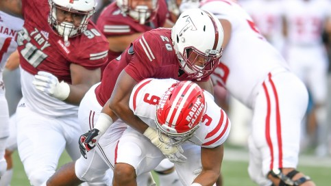 Defensive end Jarvis Hayes is back in top form following a shoulder injury, Coach Chip Lindsey says. (Troy University Athletics)