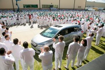Employees at Honda's facility in Lincoln celebrate the production of the Honda Odyssey. (contributed)