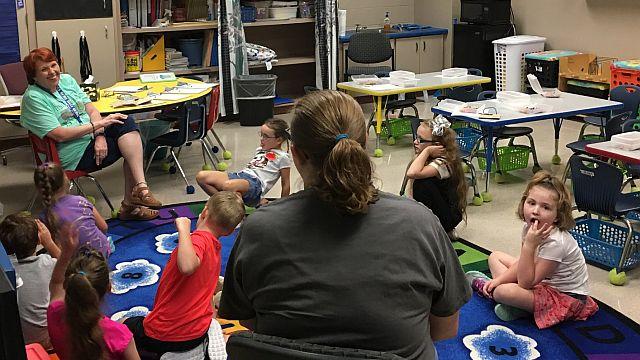 Kindergarteners learn to sit in orderly fashion. (Tiffany Scott/West End Elementary School)