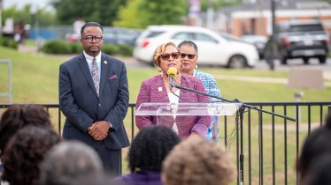Miles College interim president Bobbie Knight speaks Thursday morning during a news conference at the Fairfield campus. (Dennis Washington / Alabama NewsCenter)