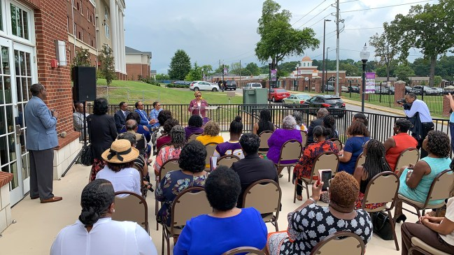 A large crowd gathered Thursday morning as Miles College introduced Bobbie Knight as its interim president. (Dennis Washington / Alabama NewsCenter)