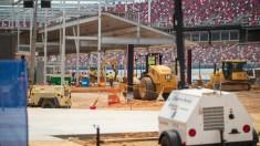 Construction crews working on the new Talladega Garage Experience. (Dennis Washington / Alabama NewsCenter)