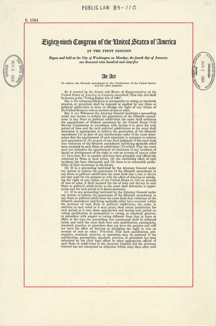 The Voting Rights Act, signed Aug. 6, 1965. (U.S. Congress, Wikipedia)