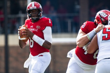 JSU quarterback Zerrick Cooper during a victory over Austin Peay. (Jacksonville State University Athletics)