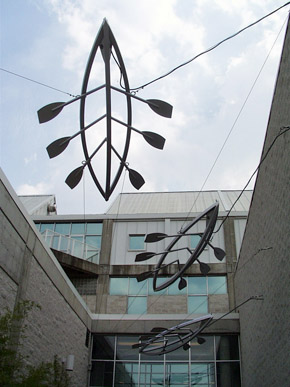 The visual arts program at the Alabama School of Fine Arts includes instruction in sculpture. These suspended canoes decorate one of the entrances to the school. (From Encyclopedia of Alabama, courtesy of Alabama School of Fine Arts)