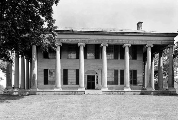 The Forks of Cypress house, completed in 1830, was built by planter and horse breeder James Jackson outside Florence, Lauderdale County. The home was unusual for being surrounded on all sides by a colonnade. It burned as a result of lightning in 1966 but had been fully documented in photographs and diagrams by the federal Historical American Building Survey in the 1930s. Those plans were later used to re-create the home as a bank building in Florence in 1982. (From Encyclopedia of Alabama, courtesy of the Library of Congress, Historic American Buildings Survey)