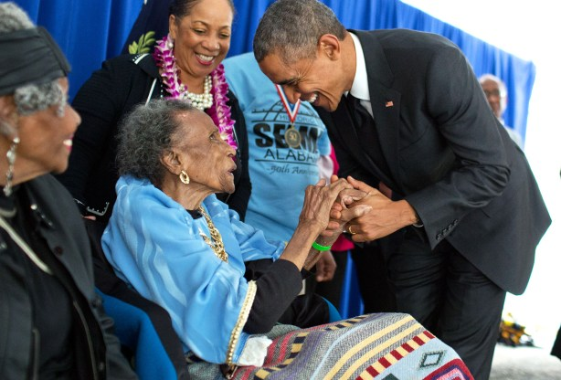 President Barack Obama greets pioneering civil rights activist Amelia Boynton Robinson at the 50th anniversary commemoration of the Selma to Montgomery March on March 8, 2015. Robinson was one of the primary organizers of the original event. (From Encyclopedia of Alabama, photo courtesy of WhiteHouse.gov)