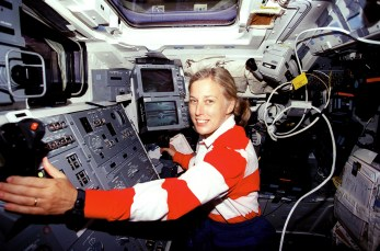 Astronaut Jan Davis, who grew up in Huntsville, on the flight deck of the space shuttle Discovery, her third and final mission for NASA. While in space, Davis used the shuttle's robotic arm to deploy and retrieve a satellite developed jointly by Germany and the United States to study Earth's middle atmosphere. (From Encyclopedia of Alabama, photo courtesy of NASA)