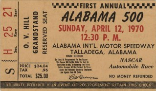 Pictured here is a ticket for the inaugural Alabama 500 race at Talladega Superspeedway in Talladega, Talladega County. (From Encyclopedia of Alabama, photo courtesy of the Alabama Department of Archives and History)