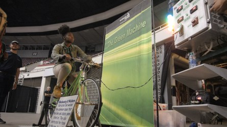 A student participates in a demonstration provided by Alabama Power. (Dennis Washington / Alabama NewsCenter)
