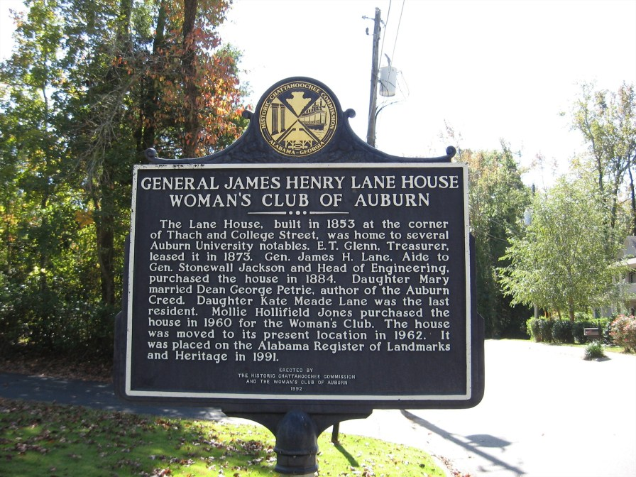 The marker tells the story of the saving and moving of the historic General Lane House from its original location to its present site. (Thorny1, Waymarking.com)