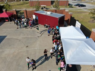 More than 4,000 eighth-graders from 10 counties explored a wide variety of possible careers at the Central Alabama Career Discovery Expo in Opelika. More than 110 exhibitors attended, including Alabama Power, one of the event's sponsors. (Alabama NewsCenter)