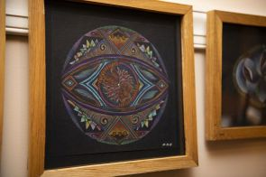 An 'all-seeing eye' welcomes visitors to the artist's home. (Phil Free/Alabama NewsCenter)