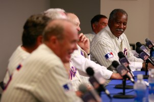 Cleon Jones speaks while the rest of the teammates look on at a press conference commemorating the New York Mets 40th anniversary of the 1969 World Championship team. (Jared Wickerham/Getty Images)