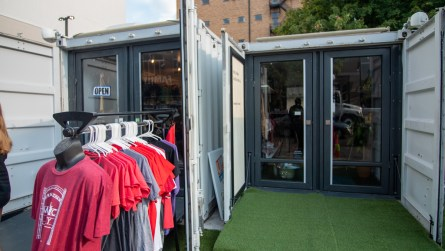 Five businesses are sharing three retrofitted shipping containers. (Dennis Washington / Alabama NewsCenter)