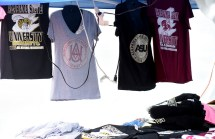 A vendor sells clothing with logos for both Alabama State and Alabama A&M at the Magic City Classic. (Solomon Crenshaw Jr. / Alabama NewsCenter)