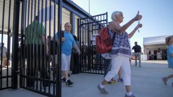 Fans enter the new Talladega Garage Experience. (Dennis Washington / Alabama NewsCenter)
