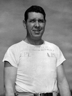 "Ralph ""Shug"" Jordan (1910-1980) was a renowned college football coach, most notably leading the Auburn University Tigers for 25 years to a national championship and a record of 176 wins, 83 losses, and six ties. (From Encyclopedia of Alabama, image courtesy of The Birmingham News)"