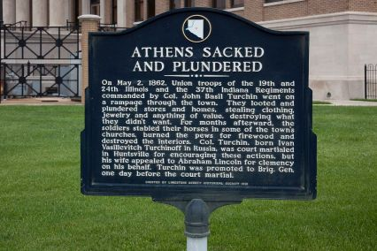 """Sacked and Plundered"" historic sign, Athens, 2010. (The George F. Landegger Collection of Alabama Photographs in Carol M. Highsmith's America, Library of Congress, Prints and Photographs Division)"