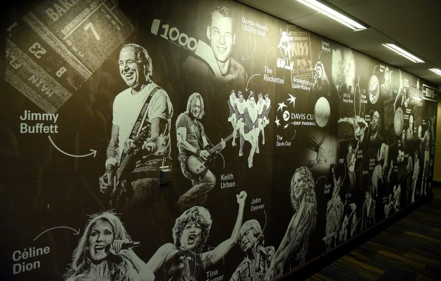 A mural depicts past concerts and events at the Birmingham-Jefferson Convention Complex. (Mark Almond/The Birmingham Times)