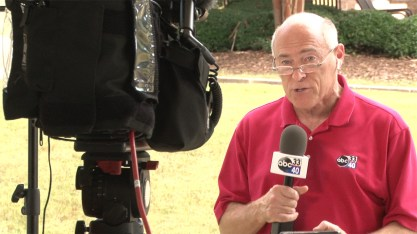 James Spann delivers a weather report live from Hoover. (contributed)