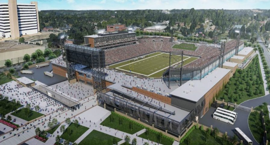A rendering shows Protective Stadium, under development next to the BJCC. (Populous)