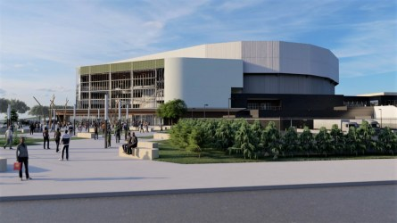 Renovation plans for the Birmingham-Jefferson Convention Complex's Legacy Arena include the addition of a glass-walled plaza. (BJCC)