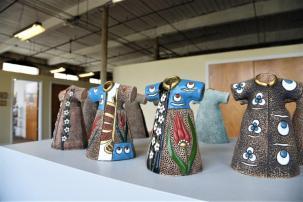 Gokden Alpman Matthews creates her art at Lowe Mill A&E in Huntsville. (Brittany Dunn / Alabama NewsCenter)