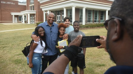 Charles Barkley poses with Miles College students during a September visit to the campus. (Solomon Crenshaw Jr./Alabama NewsCenter)