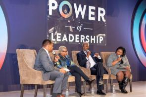 Making up the Power of Leadership panel are, from left, moderator Roy Wood Jr., DiversityInc Media CEO Carolynn Johnson, INROADS CEO Forest Harper Jr. and Taffye Benson Clayton, vice president and associate provost for Inclusion and Diversity at Auburn University. (Nik Layman / Alabama NewsCenter)