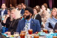 Dr. Anthony Hood from UAB listens to the panel at the Power of Leadership event in Birmingham. (Nik Layman / Alabama NewsCenter)