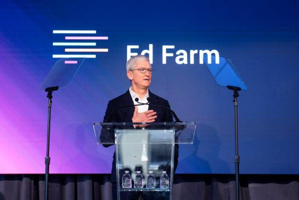 Tim Cook, CEO of Apple, speaks at the Ed Farm announcement. (Nik Layman / Alabama NewsCenter)