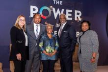 At the Power of Leadership event were, from left, Stephanie Cooper, Alabama Power vice president of Public Relations, moderator Roy Wood Jr., DiversityInc Media CEO Carolynn Johnson, INROADS CEO Forest Harper Jr. and Taffye Benson Clayton, vice president and associate provost for Inclusion and Diversity at Auburn University. (Nik Layman / Alabama NewsCenter)