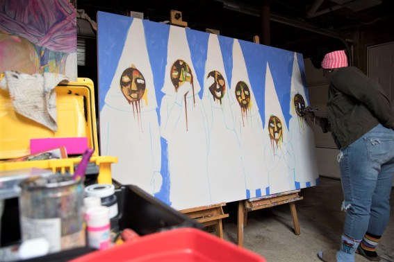 Black G.R.I.T.S. is the artist name of Alabama Maker Lynthia Edwards who uses bright colors to tell stories of the Southern black experience. (Brittany Dunn / Alabama NewsCenter)