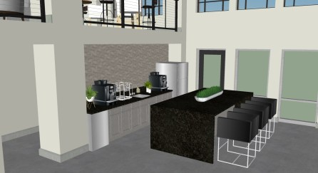 A rendering shows the kitchen in the lobby of the American Life building, which is being renovated into apartments. (Hendon and Huckestein Architects)