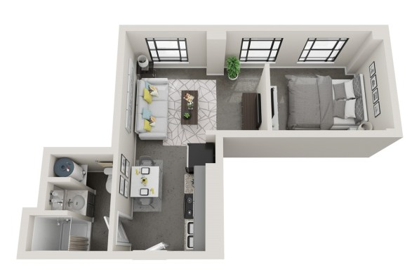 Conceptual floor plans show an Arlington apartment in the American Life building. (Hendon and Huckestein Architects)