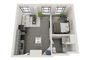 Conceptual floor plans show a Crestwood apartment in the American Life building. (Hendon and Huckestein Architects)
