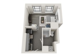 Conceptual floor plans show a Five Points apartment in the American Life building. (Hendon and Huckestein Architects)