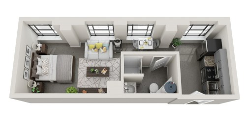 Conceptual floor plans show a Jefferson apartment in the American Life building. (Hendon and Huckestein Architects)