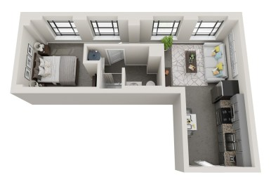 Conceptual floor plans show an Overton apartment in the American Life building. (Hendon and Huckestein Architects)