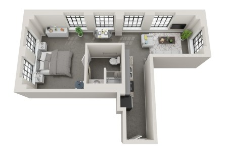 Conceptual floor plans show a Redmont apartment in the American Life building. (Hendon and Huckestein Architects)